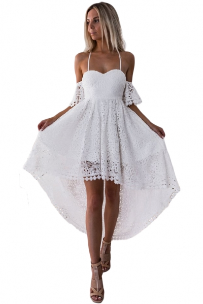 White Backless Off Shoulder High Low Prom Party Dress