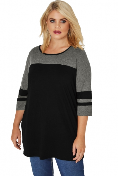 Black Charcoal Color Block Quarter Sleeved Plus Size Top