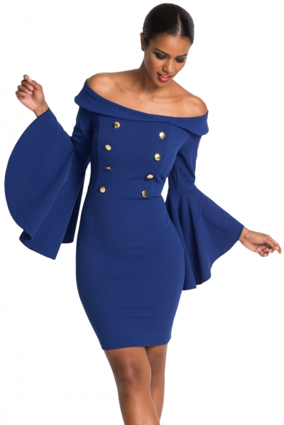 Blue Double Breasted Button Off Shoulder Dress