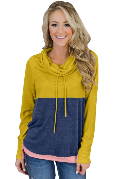 Mustard Navy Colorblock Thumbhole Sleeved Sweatshirt