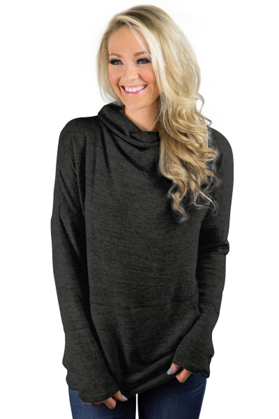 Black Heathered Kangaroo Pocket Sweatshirt