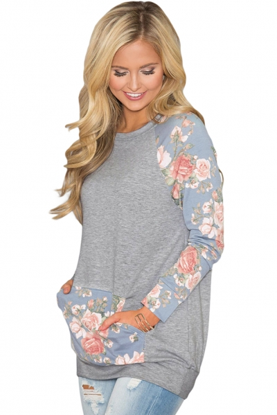 Blue Floral Patchwork Kangaroo Pocket Sweatshirt