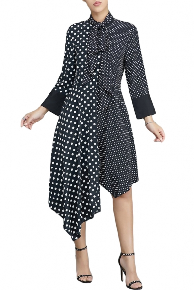 Black Polka Dot Asymmetric Vintage Dress