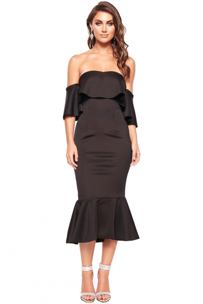Black Sexy Off Shoulder Ruffled Cocktail Dress