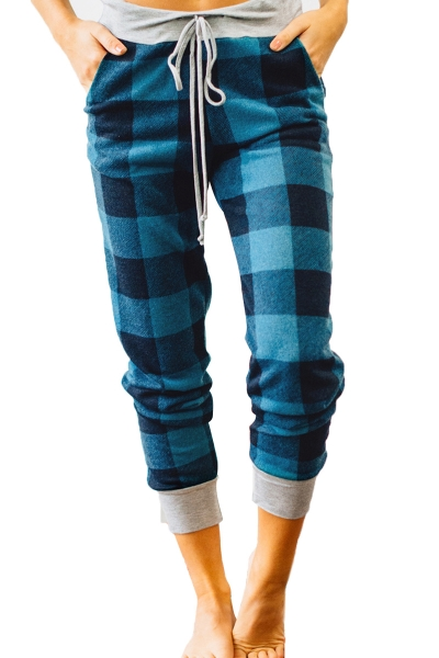 Black Green Buffalo Plaid Jogger Pants