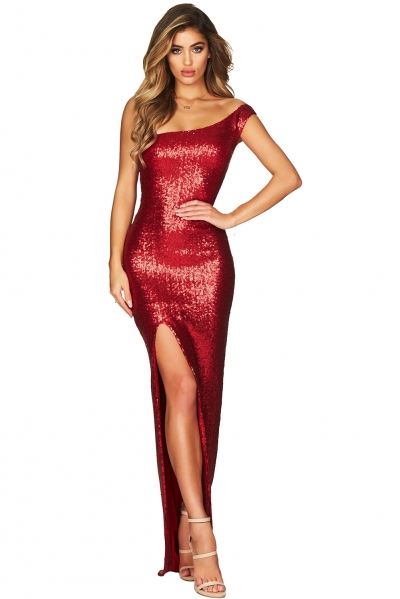 Red One Shoulder High Split Sequined Gown Dress