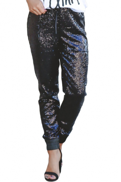 Black Glitter Sequin Drawstring Stretch Pants