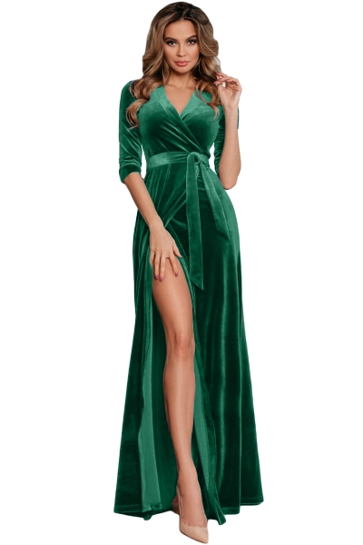 Turquoise Surplice V Neck Velvet Party Gown with Belt