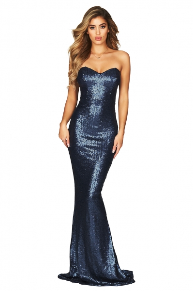 Spellbound Strapless Gown Blue