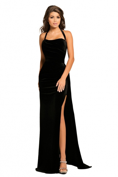 Black Thigh High Split Velvet Evening Gown
