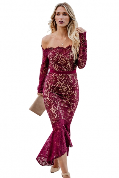 Burgundy Elegant Lace Trumpet Dress