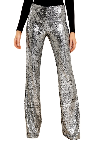 Silver Eye-catching Sequin Wide Leg Pants