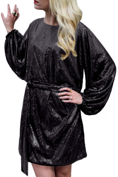 Black Oversized Caftan Mini Dress In Sequin