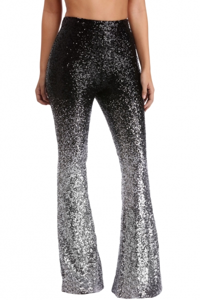 Black & Silver Ombre Sequin Bell Bottoms
