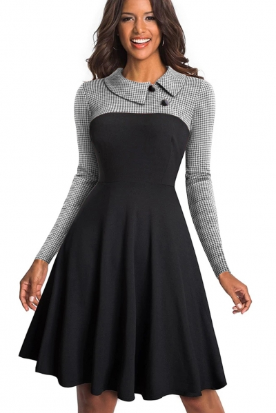 White Vintage Turn-Down Collar Pinup Button A-Line Dress