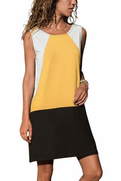 Yellow Color Block Geometric Sundress