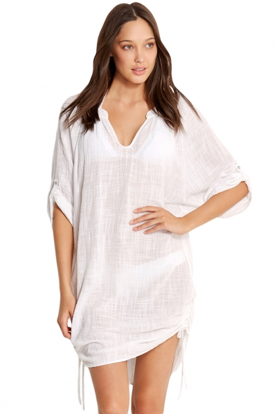 White Beach Basics Textured Gauze Cover up