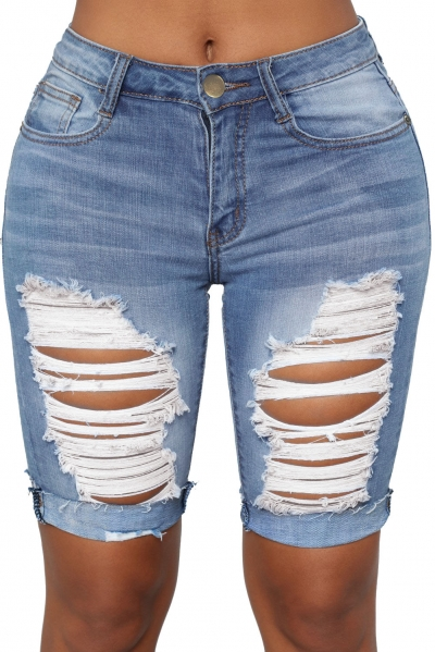 Turn Up Cuffs Above-knee Length Ribbed Jeans