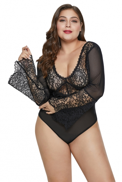 Black Bell Sleeve Lace Mesh Plus Size Teddy